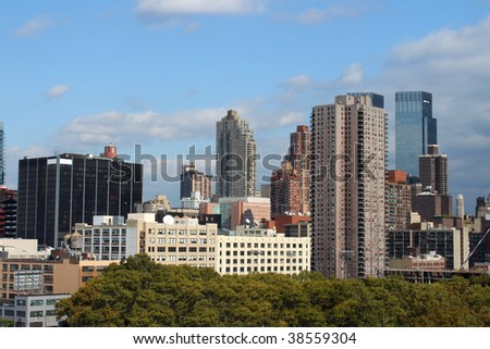 New York office and condominium buildings along the shore of the Hudson river