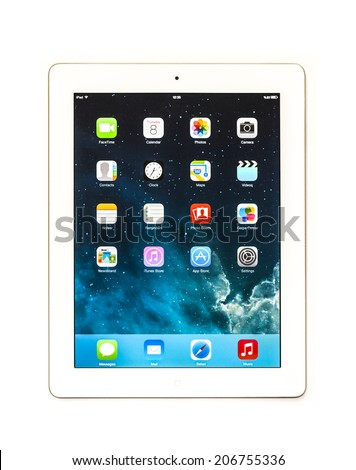 New York, USA - May 08, 2014: Studio shot of a white Apple iPad Mini tablet. - stock photo