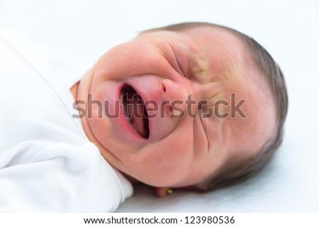 Newborn girl portrait - stock photo