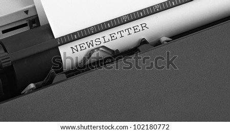 """""""newsletter"""" message typed by vintage typewriter. - stock photo"""