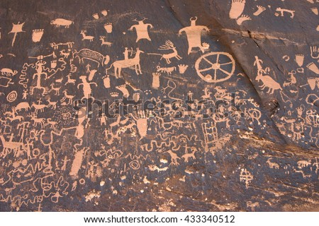 Newspaper Rock, Southeastern Utah, about 35 miles South of Moab.  Indian  Petroglyphs.  These are close to the Needles area of Canyonlands National Park.