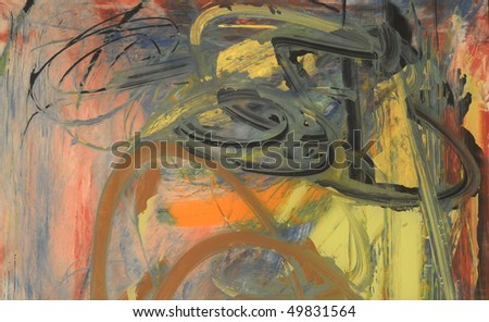 Nice Abstract painting on Glass in verso - stock photo