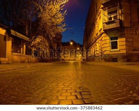Night city beautifully illuminated lanterns. This is the city of Lvov. Lantern Light reflected on the stone road. It is a beautiful and ancient city of Ukraine. Night urban landscape was bright - stock photo