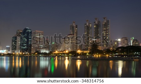 """NIGHT LIGHT Benchakitti Park"" Cityscape in bangkok"