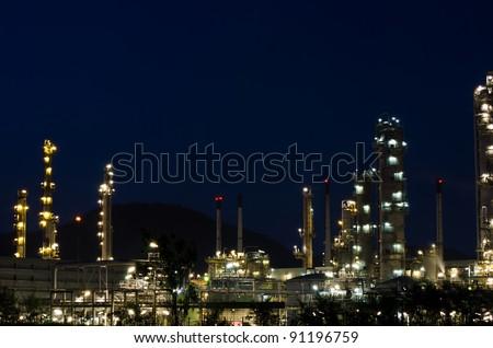 Night scene of oil purify plant. - stock photo