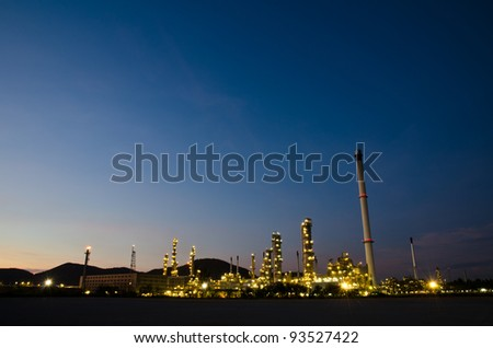 Night scene of oil purify plant. - stock photo