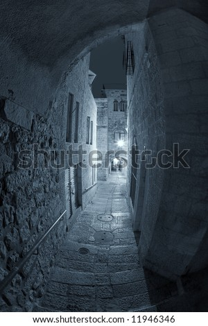 Night Street in the Old City of Jerusalem. - stock photo