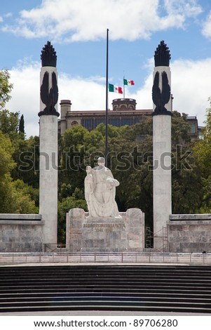 """Ninos heroes"" monument in front of Chapultepec's castle in Mexico City. - stock photo"