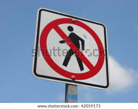 no pedestrian walking sign