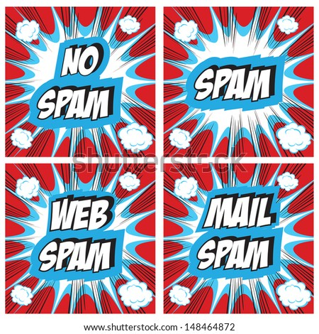 No Spam, spam, web spam,email spam - Spam concept backgrounds Pop art comic style set - stock photo
