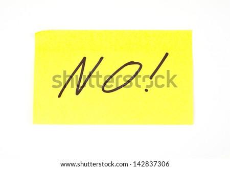 'No!' written on a sticky note - stock photo