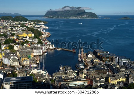Norway, Alesund - town houses on sea front. Scandinavia. Travel - stock photo