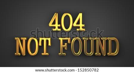 404 Not Found. Gold Text on Dark Background. Information Concept. 3D Render. - stock photo