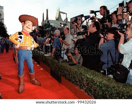 "13NOV99:  ""Toy Story"" character WOODY at the world premiere of Disney/Pixar's ""Toy Story 2"" at the El Capitan Theatre, Hollywood.   Paul Smith / Featureflash - stock photo"