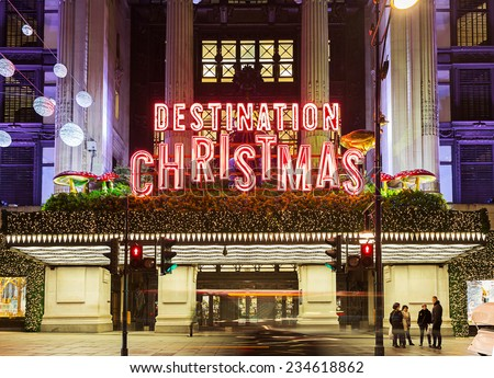 13 November 2014 Selfridges, Oxford Street, London, decorated for Christmas and New 2015 Year