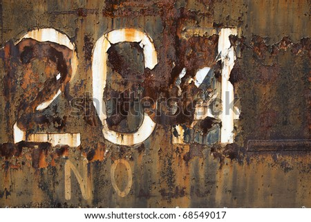 204 number on rusty old surface