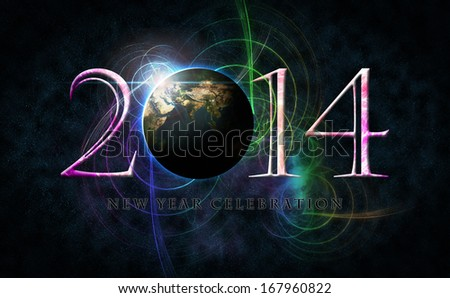 2014 number only arrangement with space concept and colorful as background. Earth Map and Globe shape courtesy of NASA.
