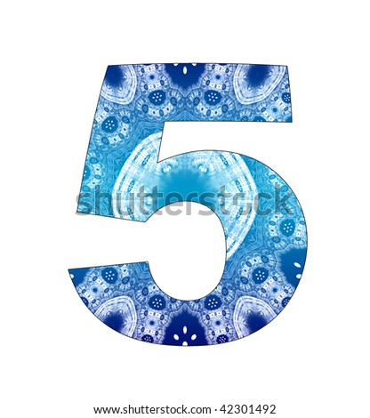 5 number with abstract design