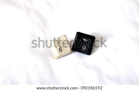 Number 69 with keyboard buttons - stock photo