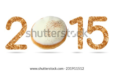 2015 numeric from donut topped by white chocolate iced isolated on white with path - stock photo