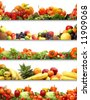 5 nutrition textures (fruits and vegetables isolated on white) - stock photo