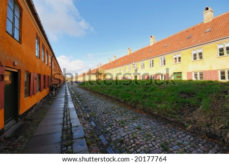 """Nyboder"" famous houses build by King Christian IV for his sailors and their families. - stock photo"