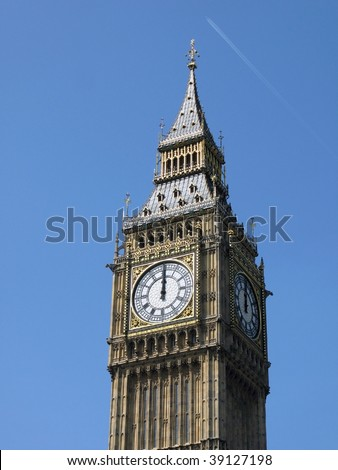 12 o'clock on Big Ben, London - stock photo