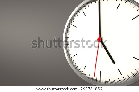 5 o'clock simple swiss clock on isolated background - stock photo