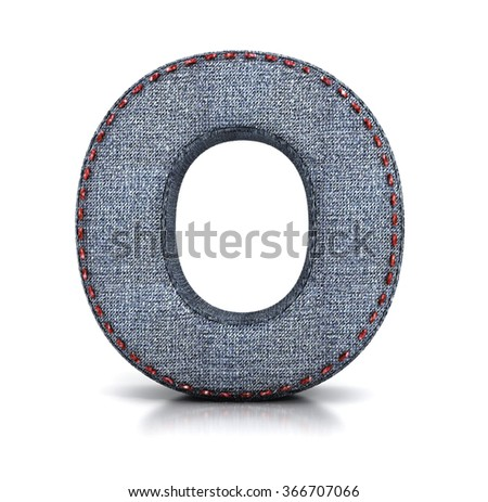 O letter, from Font of denim (jeans) fabric. 3d illustration isolated on white.