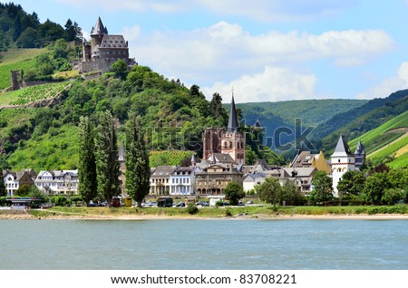 """""""Oberwesel"""" Rhine river valley, Germany - stock photo"""