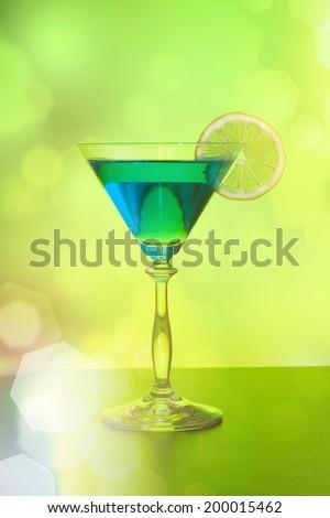 ?ocktail with lemon (shallow dof) - stock photo