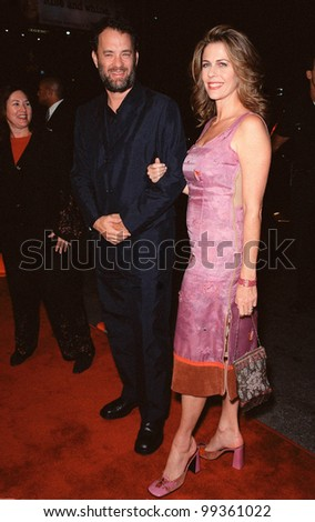 "13OCT99:  Actress RITA WILSON & actor husband TOM HANKS at the Los Angeles premiere of ""The Story of Us"" in which she stars with Bruce Willis & Michelle Pfeiffer.  Paul Smith / Featureflash"