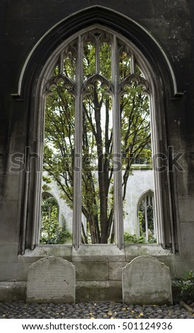 18 OCT 2016, LONDON, UK - Large stone window at St Dunstan in the East, an old historical venue from old London
