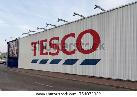 6 of November, 2017, Editorial photo of Tesco supermarket, Sala, Slovakia