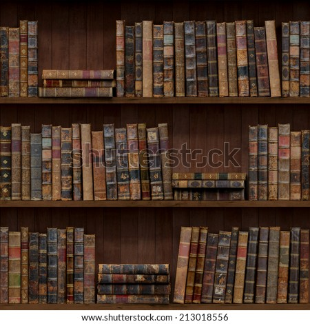 7 of 15 Old books seamless texture (vertically and horizontally). Bookshelf Background. Also tiled with other 15 textures from same pack in my gallery. - stock photo