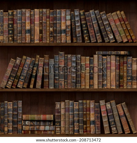 5of15 Old books seamless texture (vertically and horizontally). Tiled Bookshelf Background.  - stock photo