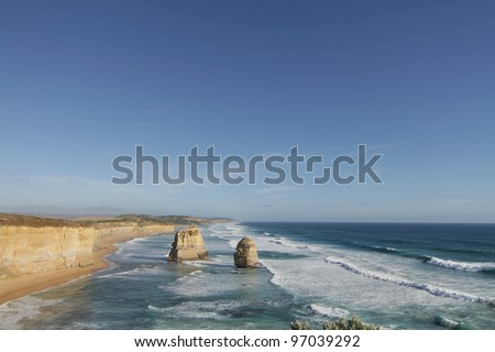 2 of the 12 Apostles, Great Ocean Road, Australia - stock photo