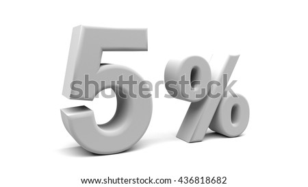 5% off. On sale. Reduced prices. Small interest rate. 3D rendering. Isolated 3D text with big fonts on white background.