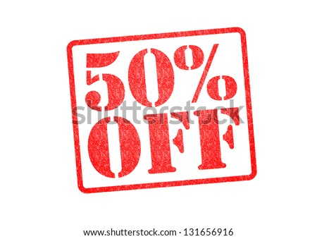 50% OFF Rubber Stamp over a white background. - stock photo