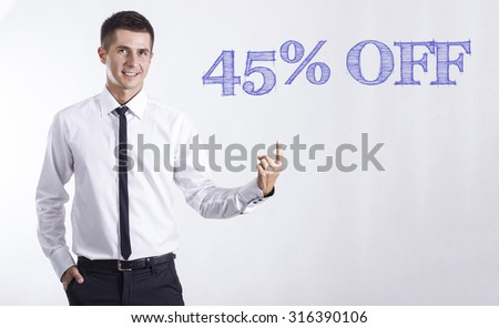 45% OFF - Young smiling businessman pointing on text