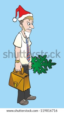"""""""office worker with a Christmas tree and a  briefcase"""" - stock photo"""