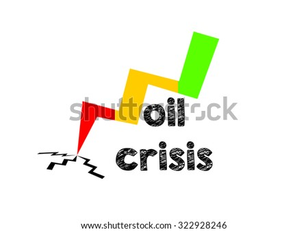 """""""Oil Crisis""""  text and an arrow going down isolated on white background - stock photo"""