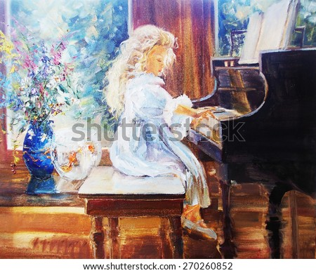 The gallery for --> Little Girl Playing Piano Painting