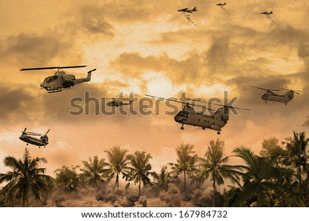 'Oil Painting Style' Image of helicopters over Vietnam during the war. (Artist's Impression) - stock photo