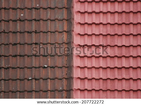 Old and new roof tiles side by side.