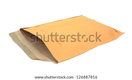 Old brown envelope isolated on white for reuse - stock photo
