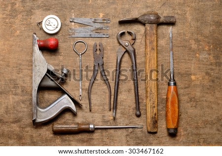 old carpenter's tools for working with wood - stock photo