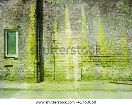 Old chemical factory wall - stock photo