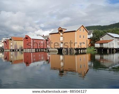 Old colored houses in Mosjoen Norway - stock photo