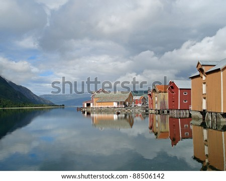 Old coloured houses in Mosjoen Norway - stock photo